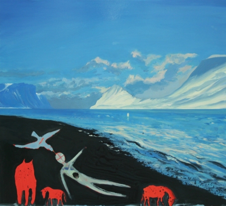 Fjord Jaw Spirits, Oil, Pigment, Gloss on board