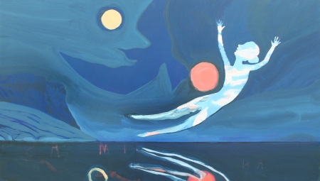 Rouge Morning Moon from the Fjord Ship, Oil, Pigment, Gloss