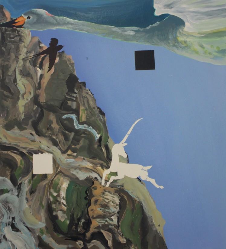 Suprematist Swan, Oil, Gloss, Pigment, 2016 (H77 X W70 cm)