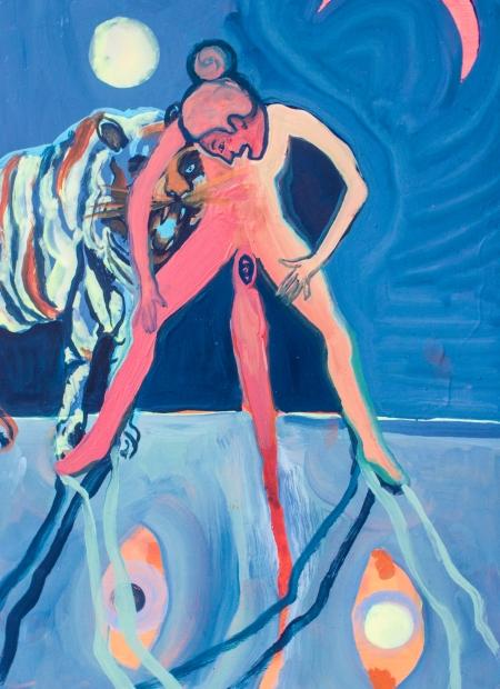 Teaching Tiger. Oil, Gloss, Pigment on board. 39 x 29 x 3 cm