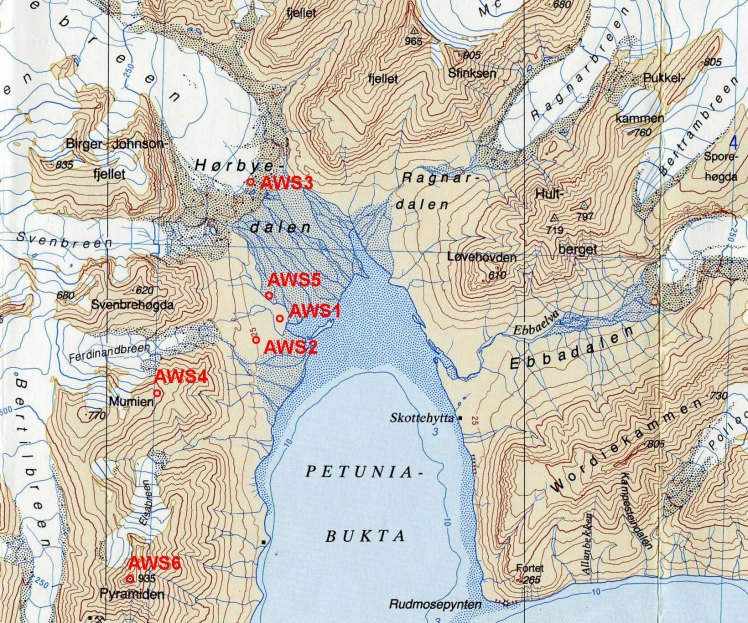 Map of Petuniabukta, Svalbard