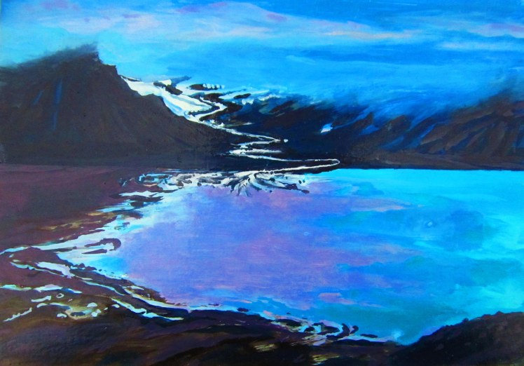High Arctic from Mumien, Summer 2016, Oil, Gloss, Pigment on Mount-board, 15 x 21 cm